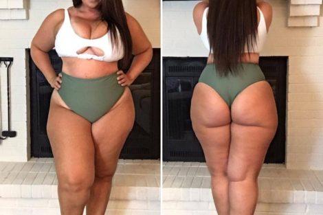 Photo de femme ronde noire devant et derrière